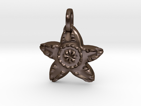 Starfish Charm Pendant in Polished Bronze Steel
