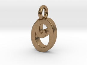 O - Pendant 2mm thk. in Natural Brass