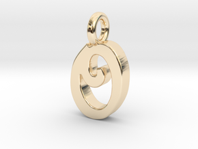 O - Pendant 2mm thk. in 14K Yellow Gold