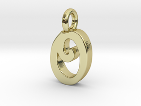 O - Pendant 2mm thk. in 18k Gold Plated Brass
