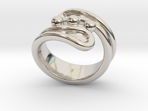 Threebubblesring 25 - Italian Size 25 in Rhodium Plated Brass