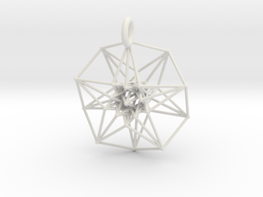 5d hypercube toroidal projection -37mm  in White Strong & Flexible