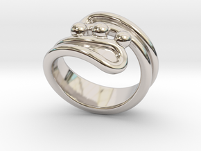 Threebubblesring 28 - Italian Size 28 in Rhodium Plated Brass