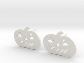 Jack-O-Lantern Earrings in White Natural Versatile Plastic