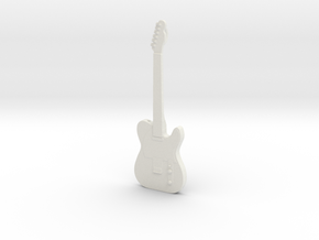 Telecaster Guitar Pendant in White Natural Versatile Plastic