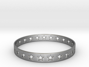 Stars Around (5 points, cut through) - Bracelet in Natural Silver: Small