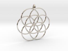 Flower of Life - Hollow Pendant in Platinum