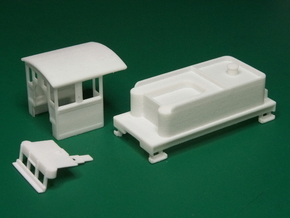 Parts for 2-8-0 conversion A (cab,pilot,tender) HO in White Processed Versatile Plastic
