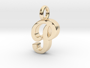 P - Pendant 2mm thk. in 14K Yellow Gold