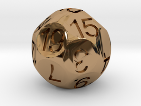 D19 Sphere Dice in Polished Brass