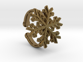 Snowflake Ring 1 d=16.5mm Adjustable h35d165a in Polished Bronze