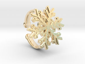 Snowflake Ring 1 d=16.5mm Adjustable h35d165a in 14k Gold Plated Brass
