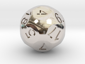 D18 Sphere Dice in Rhodium Plated Brass
