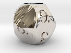D11 Sphere Dice in Rhodium Plated Brass