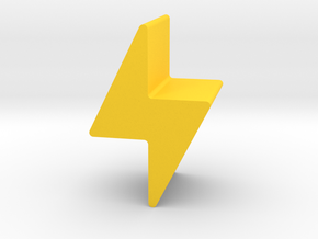 Lightning Bolt Game Piece in Yellow Processed Versatile Plastic