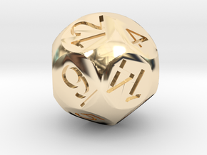 D14 Sphere Dice in 14k Gold Plated Brass