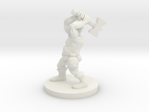 Dwarf Barbarian with Warhammer in White Natural Versatile Plastic