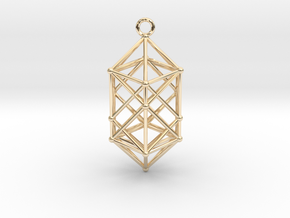Hyperdiamond projection of 24 cell Octoplex 50mm in 14k Gold Plated Brass