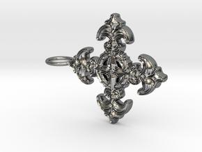 Croix Fleur de Lys baroque in Polished Silver