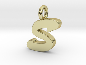 S - Pendant 2mm thk. in 18k Gold Plated Brass