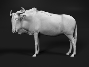 Blue Wildebeest 1:24 Standing Male in White Natural Versatile Plastic