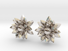 Silver crystal ear rings in Rhodium Plated Brass