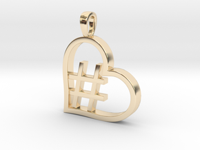 Alpha Heart 'Hashtag' in 14k Gold Plated Brass
