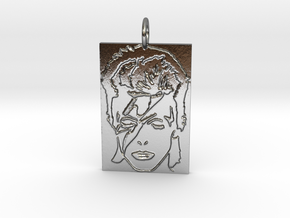 David Bowie Pendant in Polished Silver