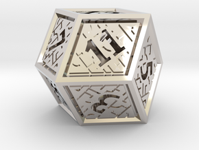 Hedron D12 (Hollow), balanced gaming die in Rhodium Plated Brass