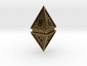 Hedron D8 (Hollow), balanced gaming die in Polished Bronze