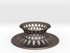 """The Universe Sphere Base """"Grid"""" in Polished Bronzed Silver Steel"""
