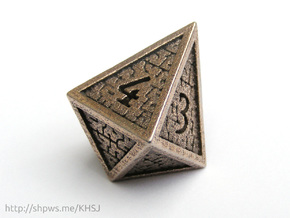 Hedron D4 (Hollow), balanced gaming die in Polished Bronzed Silver Steel