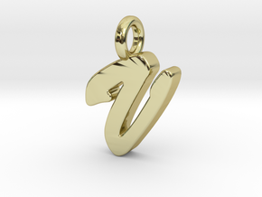 V - Pendant 2mm thk. in 18k Gold Plated Brass