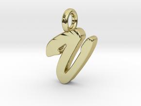 V - Pendant 2mm thk. in 18k Gold Plated Brass