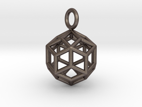 Pendant_Rhombic-Triacontahedron in Polished Bronzed Silver Steel