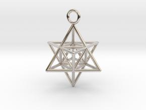 Pendant_Merkaba-Triforce in Rhodium Plated Brass