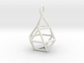 Pendant_Cuboctahedron-Droplet in White Natural Versatile Plastic