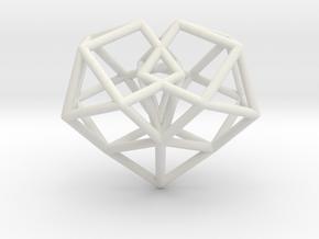 Pendant_Cuboctahedron-Heart in White Premium Versatile Plastic