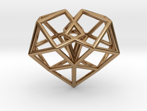 Pendant_Cuboctahedron-Heart in Polished Brass