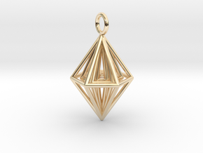 Pendant_Tripyramid in 14k Gold Plated Brass