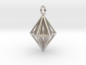 Pendant_Tripyramid in Rhodium Plated Brass