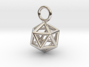Pendant_Icosahedron-Small in Rhodium Plated Brass