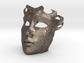 Venetian mask in Polished Bronzed Silver Steel