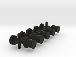 set of 5 Oil Lights and roof caps in Black Natural Versatile Plastic