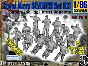 1/96 Royal Navy Seamen Set102 in Smooth Fine Detail Plastic