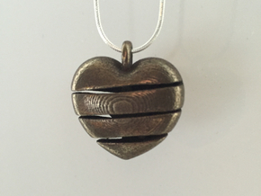 Heart & Star Pendant Large - Spiral in Polished Bronze Steel