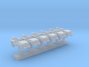 1:400 Scale Willys Jeeps (6x) in Smoothest Fine Detail Plastic