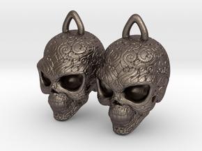 Day of the Dead Earrings  2.5cm in Polished Bronzed Silver Steel