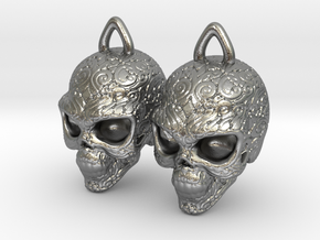 Day of the Dead Earrings  2.5cm in Natural Silver