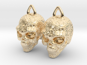 Day of the Dead Earrings  2.5cm in 14k Gold Plated Brass